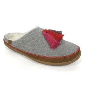 Toms Ivy Tassel Mule Slippers Faux Shearling Grey